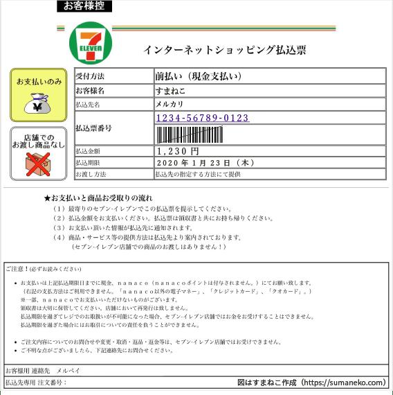 インターネットショッピング払込票のサンプル画像