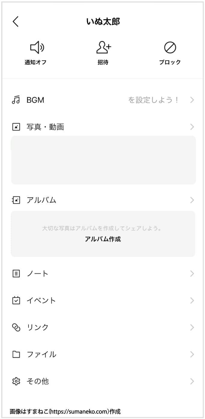 LINEのプッシュ通知に関するLINEトークルームの設定画面