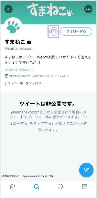 TwitterのDMを送る手順1(SP)