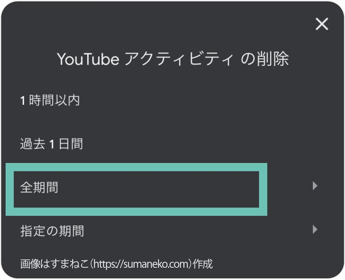 YouTubeアクティビティを削除する画面