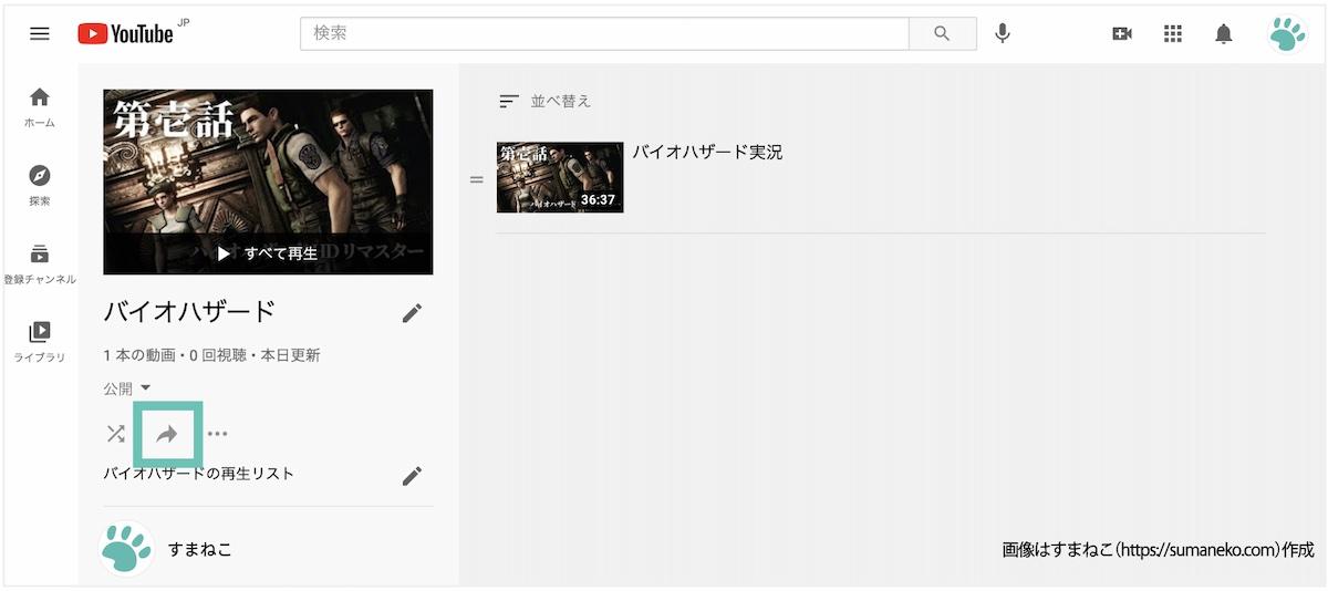 YouTubeの再生リストのシェアアイコン