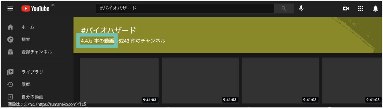 YouTubeでハッシュタグで検索したときの検索結果例